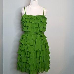 Juicy couture green chiffon ruffle dress